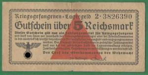 5 рейхсмарок 1939-1945 Концлагерь